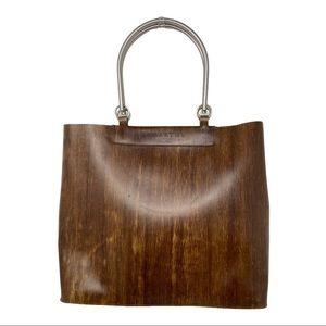 Lamarthe structured wood grain look tote bag